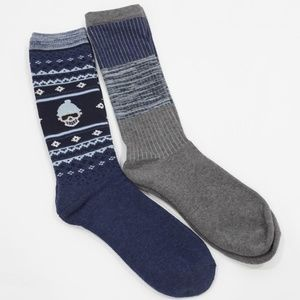 Lucky Brand Blue and Gray Full Cushion Boot Socks